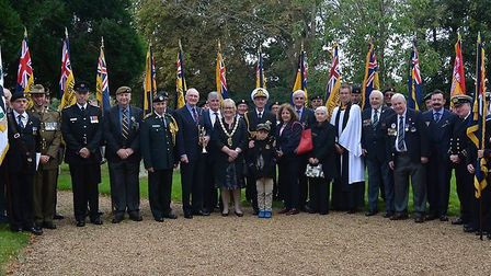 West Norfolk mayor with guests at the Gallipoli memorial service in Dersingham. Picture: COURTESY OF