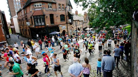 A view of Castle Road in Nottingham during the 2016 Ikano Bank Robin Hood Marathon. Picture: Ikano B