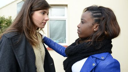 Mental Health. Pictured: A woman is consoled by her friend. Picture: Time to change/Newscast Online