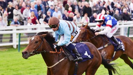 Hope Is High wins the 3.35pm race with jockey Silvestre De Sousa.Picture: Nick Butcher
