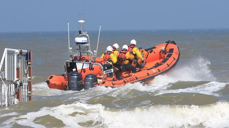 The Howard Bell launches from Happisburgh. Picture: RNLI Happisburgh