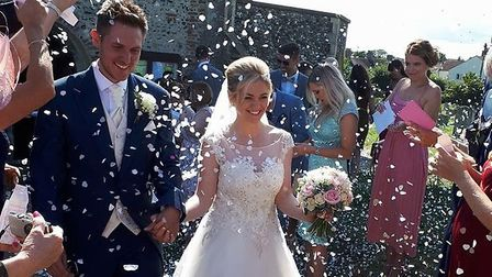 Laura and Grant Rix on their wedding day. Picture: Samantha Gardiner