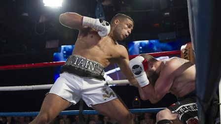 Iain Martell on his way to victory in his pro debut against Jindrich Velecky. Picture: Jerry Daws/St