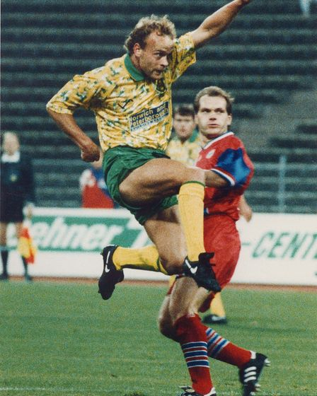 Norwich City's Jerry Goss serves up some fantasy football in Munich. Picture: Archant