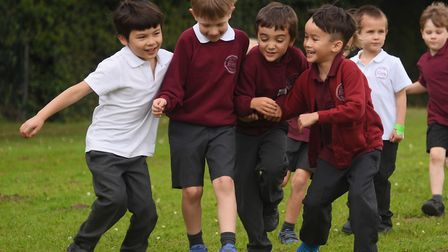 Eaton Primary School children try to encourage their friends to keep running for 10 minutes in the D