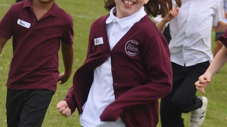 Eaton Primary School children back at school and enjoying running the Daily Mile, running for 10 min