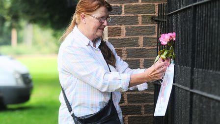 Janice Elvins (pictured) and her mum Nancy Gisby left their own tribute to Princess Diana, outside P