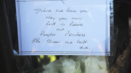A floral tribute left at Sandringham in memory of Princess Diana. Picture: Chris Bishop