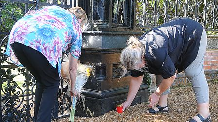 Janet Taylor and Claudia Thoma lay tributes to Diana. Picture: Chris Bishop