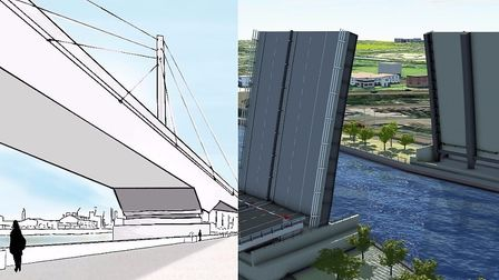 The options for the third river crossing in Great Yarmouth. Left, swing bridge and right, a lifting