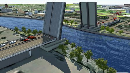 One of the options is for a lifting, or bascule bridge. Image of the proposed new third river crossi