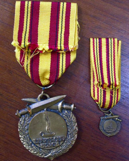 The Dunkirk Medal, awarded to recepients by the town of Dunkirk. Picture: Courtesy of Marc Hope