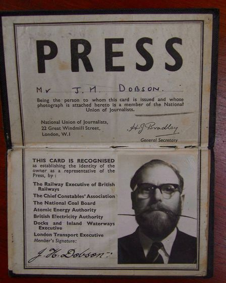 Mr Dobson's impressive moustache, which can be seen in this press pass photograph, helped him to ach