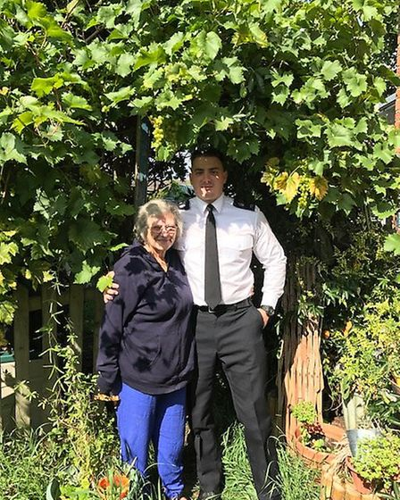 Gill Phillips with PC Mark Outlaw. Picture: PC Amy Lucas