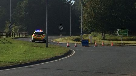 The A134 is currently closed between the junction for West Tofts and the Mundford roundabout. Pictur