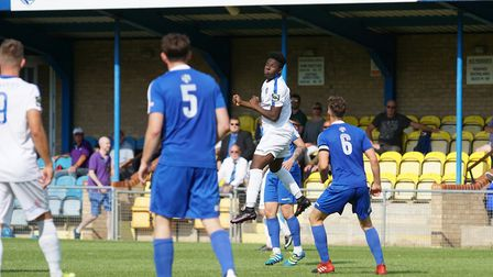 Cruise Nyadzayo in action against Bedford Town. Picture: Shirley D Whitlow