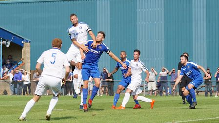 Rossi Jarvis rises highest for Lowestoft against Bedford Town. Picture: Shirley D Whitlow