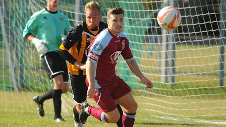 Great Yarmouth captain, Robin Andersen, right, and goalkeeper Josh Glover in action against Chesham.