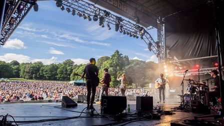 The crowds at The Shires gig as supporting act Morganway perform. Photo: John Newstead
