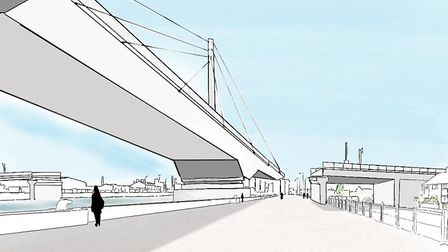 A new option is for a swing bridge. Image of the proposed new third river crossing in Great Yarmouth