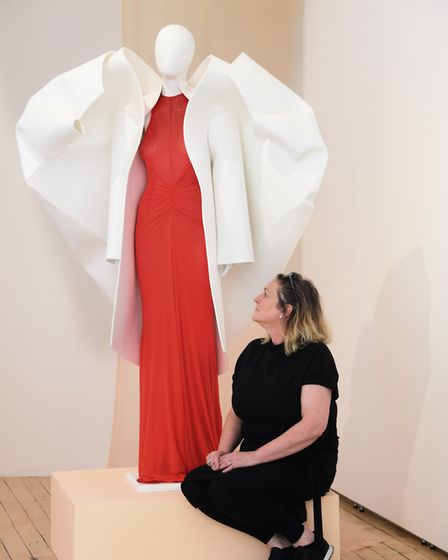 MA students work on show at NUA. Associate Dean, Marie Brennan, with student Amy Ollett's design for