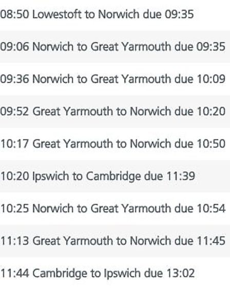 Train cancellations on September 1. Photo: Greater Anglia