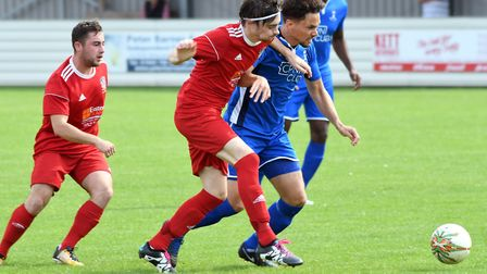 Action from Wisbech Town's 3-1 defeat to Potton United last weekend. Picture: Ian Carter