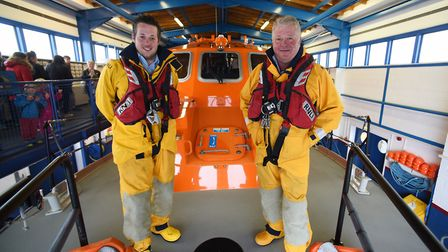 Father and son, Peter and Wes Stokes, who both crew the Cromer lifeboat, RNLI Lester. Picture: DENIS