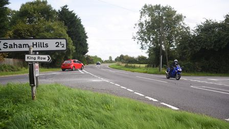 The crossroads on the A1075 between Watton and Shipdham where a serious crash happened on Sunday mor