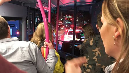 Fans are stuck in traffic as they try to leave the Little Mix concert. Picture: Geri Scott