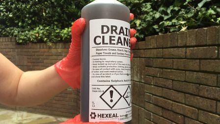 The drain cleaner with 96pc sulphuric acid. Photo: Archant
