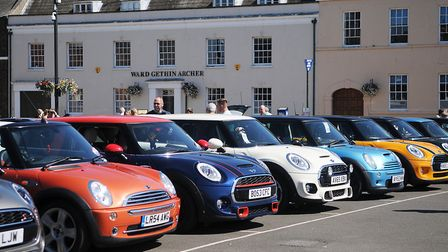 Minis line up across the square. Picture: Chris Bishop