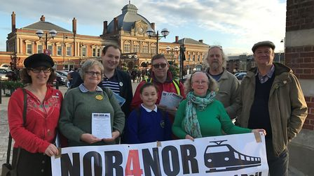 A previous protest by NOR4NOR action group outside Norwich railway station. Picture: GERALDINE SCOTT