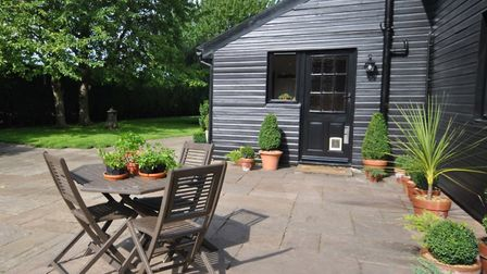 Lovely outdoor garden space at Woodstock Barn in Botesdale. Photo: Courtesy of TW Gaze