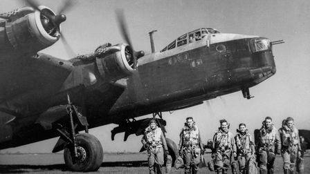 A Second World War Stirling bomber, similar to the aircraft discovered in the North Sea, and its cre