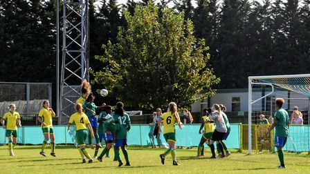 Norwich City Ladies' Charlotte Broad climbs high with team members watching on. Picture: Brian Coomb
