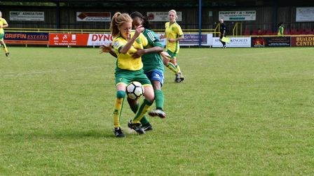Abbie Everson put in a fine challenge for Norwich City Ladies against Haringey. Picture: Brian Coomb