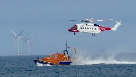Library image from a training exercise involving Sheringham and Cromer lifeboats with the coastguard
