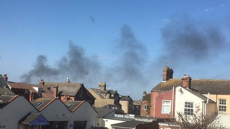 A plume of smoke was visible across the skyline as firefighters tackled the shed blaze in Lowestoft.