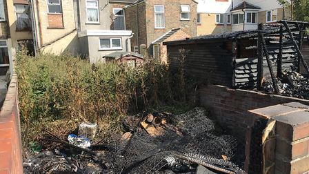The fire spread from the rear garden of the unoccupied property situated next door. Picture: Tom Cha
