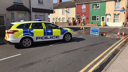 Police at the scene of the shed fire in Lowestoft. Picture: Tom Chapman