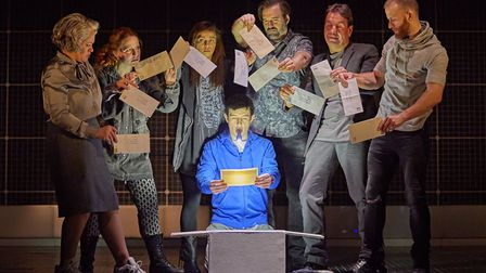 Scott Reid (Christopher Boone) and company in The Curious Incident of the Dog in the Night-Time. Pho