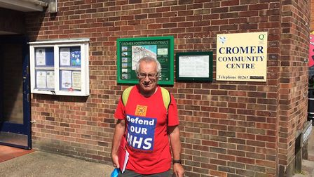 Terry Skyrme from the Norfolk Coalition against the Cuts campaign group outside Cromer community cen