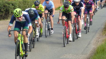 Action from the Pedal Power Road Race with Harley Matthews, followed by Mark Richards, eventual winn