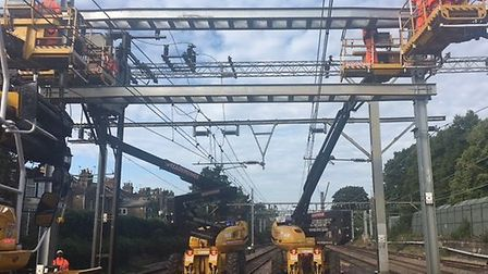 The wiring train installing new overheard wire at Brentwood. Picture: Network Rail