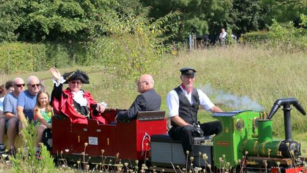 Councillor David Fullman, Lod Mayor of Norwich, at the Eaton Park Miniature Railway's first fundrais