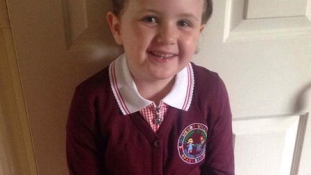 Lucy Varney, four, is starting her first day at school at Ormesby Village Infant School. PIcture: Am