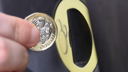 The new pound coin for the machine at Rouen Road car park. Picture: DENISE BRADLEY