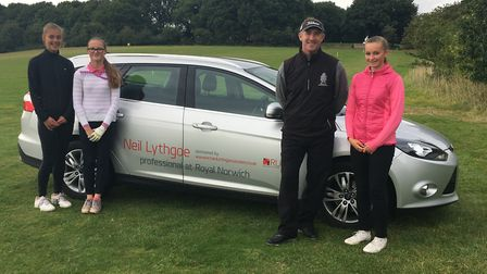 From left to right, Chloe Gibbs, Eve Neild and Hope Neild with Royal Norwich head professional Neil