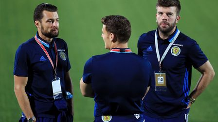Russell Martin, Chris Martin and Grant Hanley chat during the recent international break with Scotla